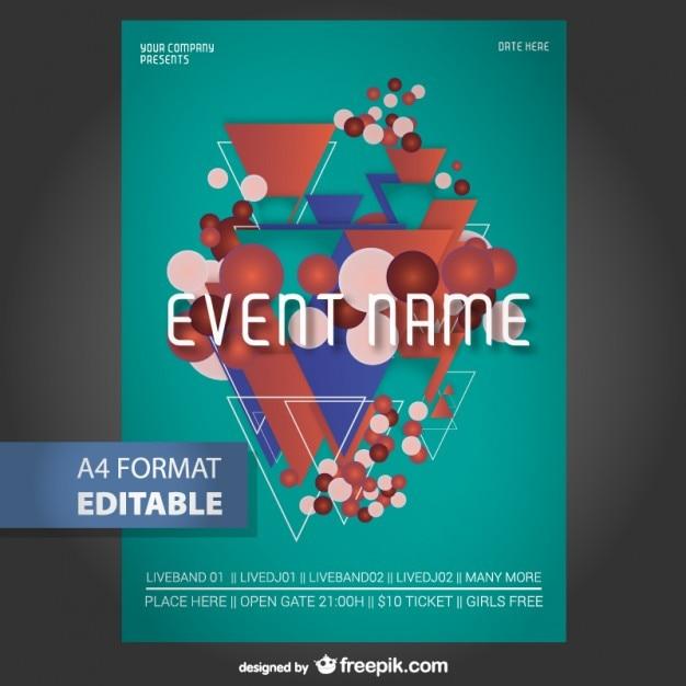 Modelo de cartaz editável geométrica Vetor grátis