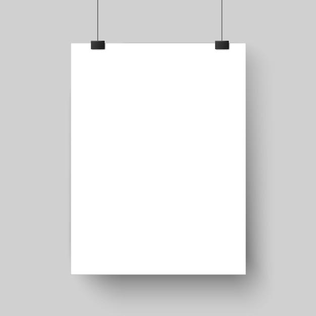 Modelo de cartaz em branco branco. affiche, folha de papel pendurada na parede. brincar Vetor Premium