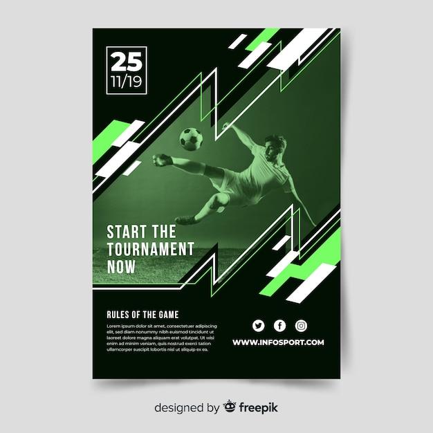 Modelo de cartaz esporte com foto-claro Vetor grátis