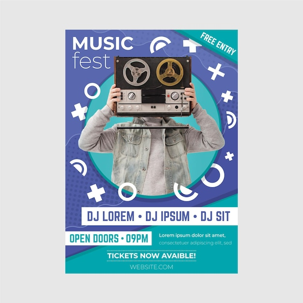 Modelo de cartaz - evento de música 2021 Vetor grátis