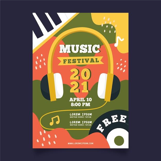 Modelo de cartaz - evento de música de fones de ouvido Vetor grátis
