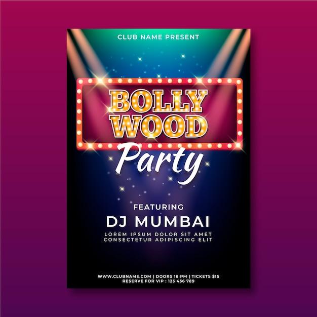 Modelo de cartaz - festa de bollywood Vetor Premium