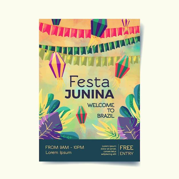 Modelo de cartaz - festa junina em aquarela Vetor grátis