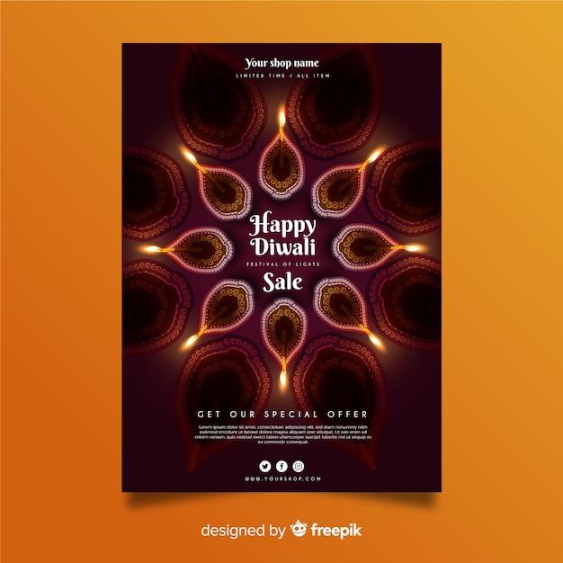 Modelo de cartaz - festival de diwali Vetor grátis