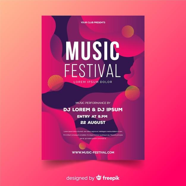 Modelo de cartaz festival de música com efeito líquido Vetor grátis