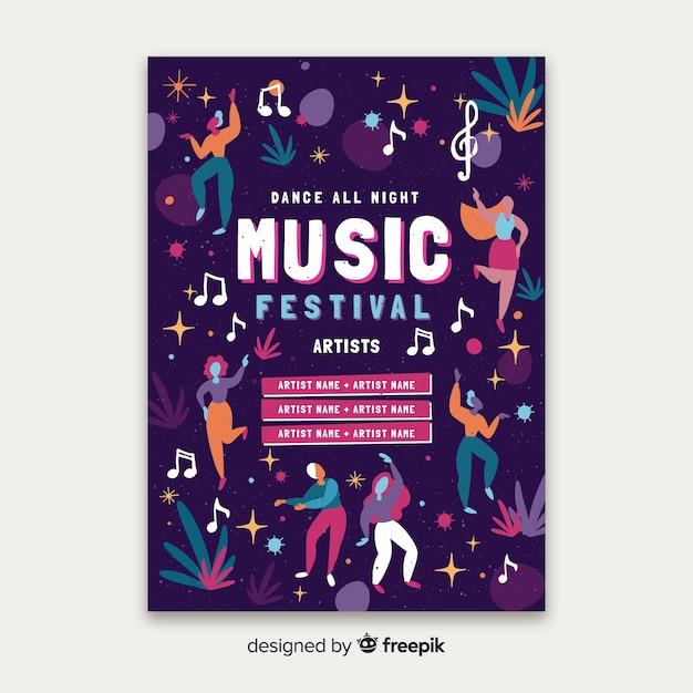 Modelo de cartaz festival de música desenhada de mão Vetor grátis