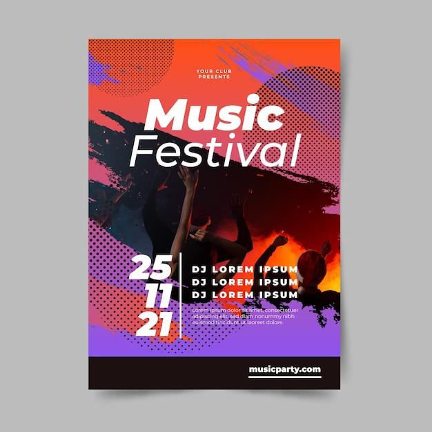 Modelo de cartaz - festival de música Vetor grátis