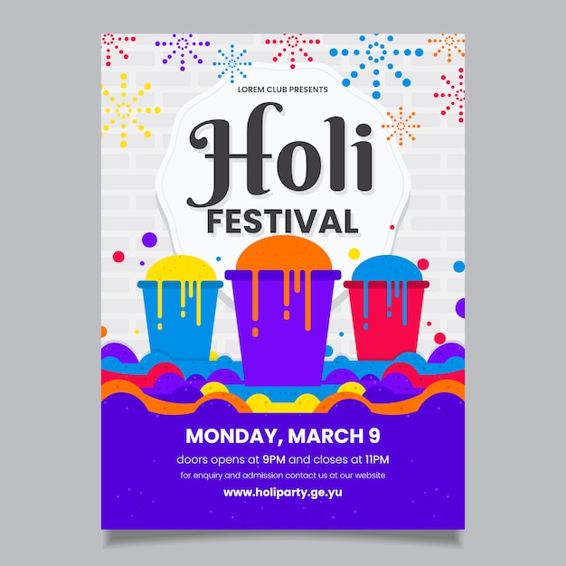Modelo de cartaz festival holi design plano Vetor grátis