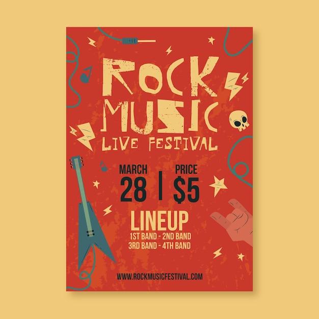 Modelo de cartaz ilustrado festival de música Vetor grátis