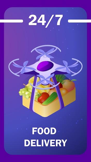 Modelo de cartaz isométrico de entrega de comida futurista Vetor Premium