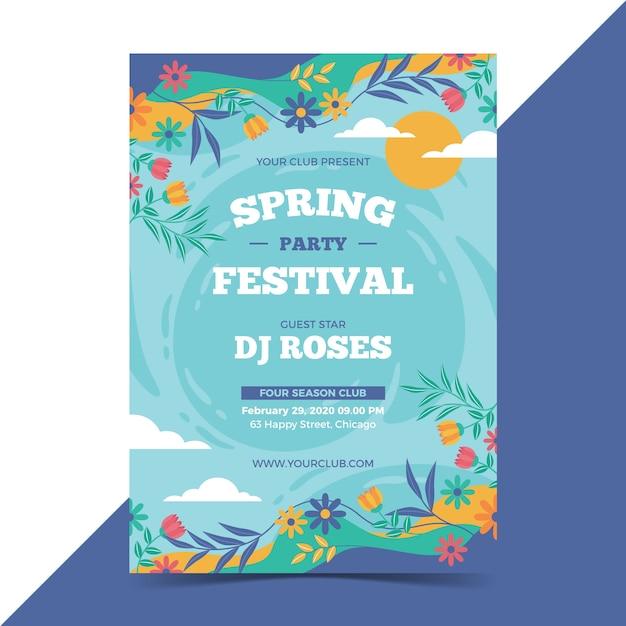 Modelo de cartaz linda primavera Vetor grátis