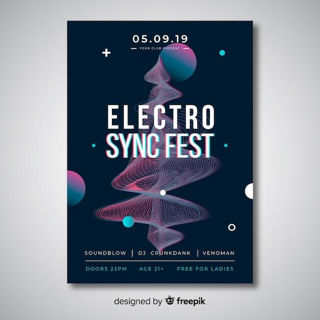 Modelo de cartaz - música eletrônica de efeito de falha Vetor grátis