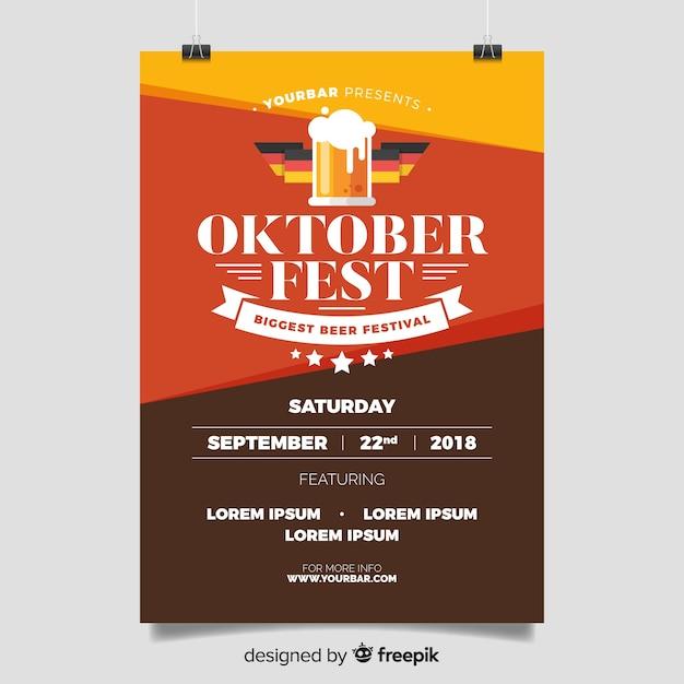 Modelo de cartaz oktoberfest com design plano Vetor grátis