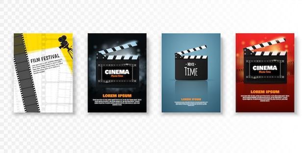 Modelo de cartaz ou folheto festival de cinema. Vetor Premium