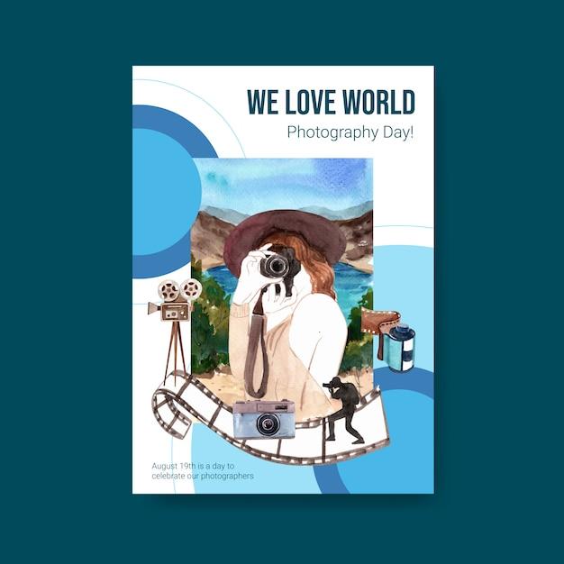 Modelo de cartaz para o dia mundial da fotografia Vetor grátis