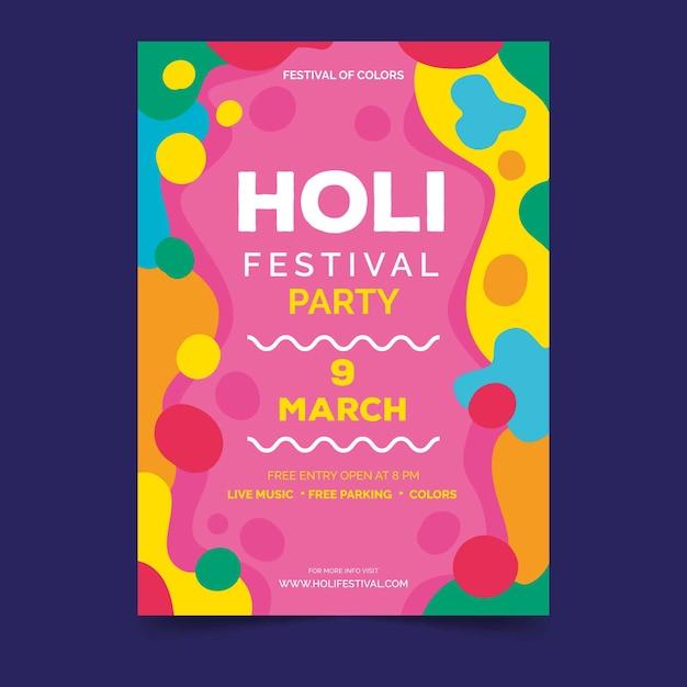 Modelo de cartaz para o festival de holi Vetor grátis
