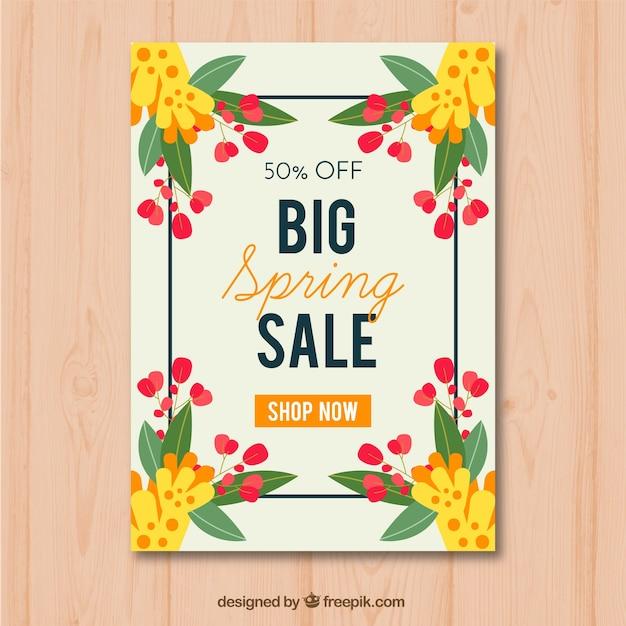 Modelo De Cartaz Para Vendas De Primavera Com Belas Flores