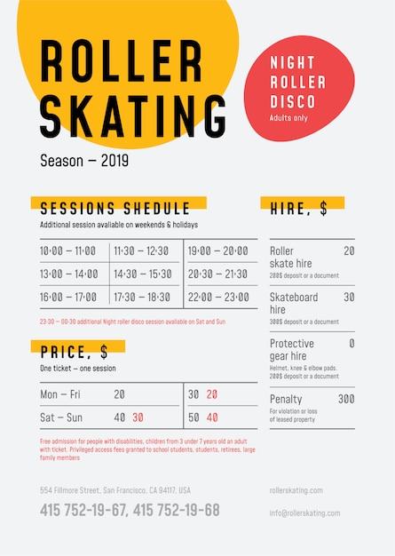 Modelo de cartaz - patinação Vetor Premium