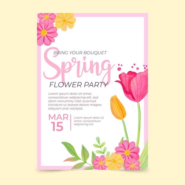 Modelo de cartaz - primavera aquarela Vetor grátis