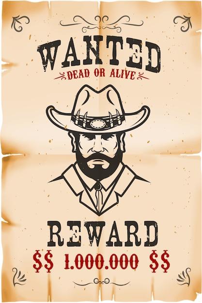 Modelo de cartaz procurado vintage com fundo de textura de papel velho. tema do oeste selvagem. ilustração Vetor Premium