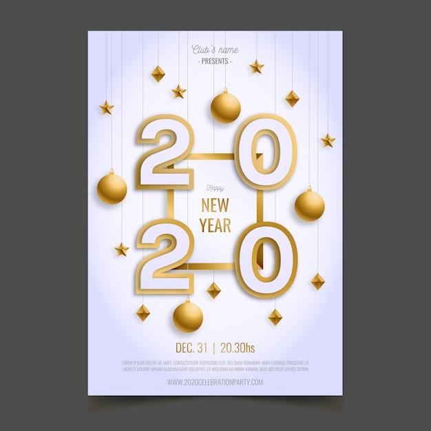 Modelo de cartaz realista ano novo 2020 Vetor grátis