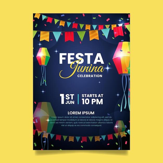 Modelo de cartaz realista festa junina Vetor Premium