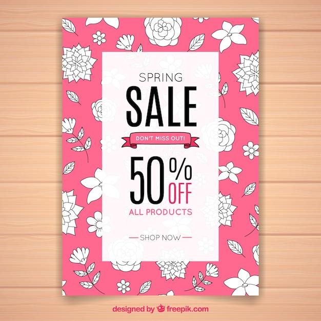 Modelo De Cartaz Rosa Criativo Para Vendas De Primavera