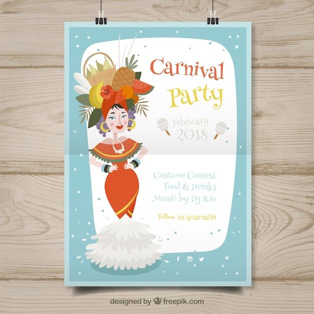 Modelo de cartaz suspenso para carnaval Vetor grátis