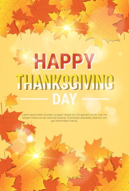 Modelo de cartaz tradicional de outono feliz dia de ação de graças Vetor Premium