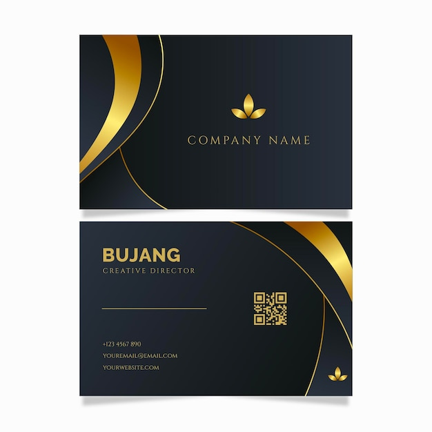 Modelo de carteira de identidade empresarial de linha dourada de luxo Vetor grátis