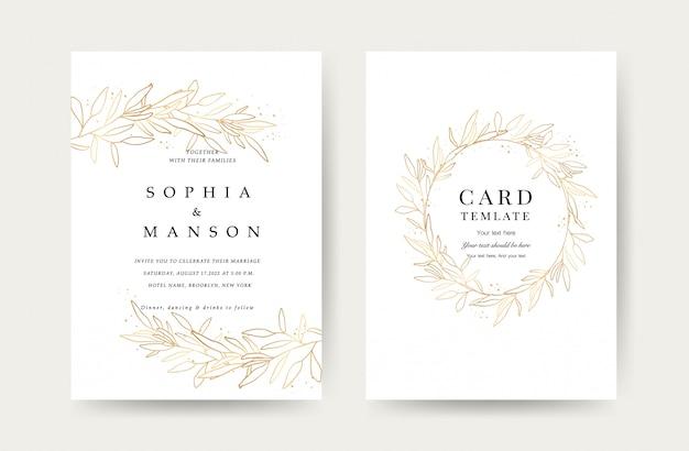 Modelo de cartões de convite de casamento de luxo Vetor Premium