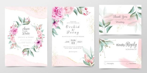 Modelo de cartões de convite de casamento elegante com aquarela decoração floral Vetor Premium