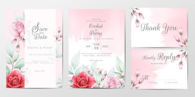 Modelo de cartões de convite de casamento floral com fundo aquarela Vetor Premium