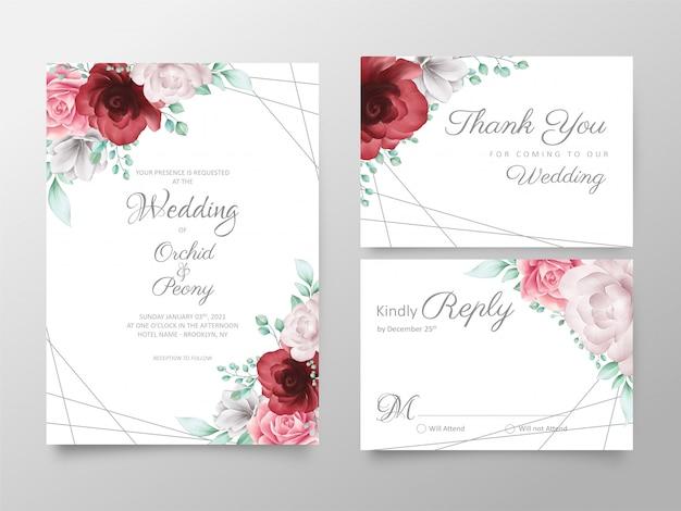 Modelo de cartões de convite de casamento floral elegante conjunto com decoração dourada Vetor Premium