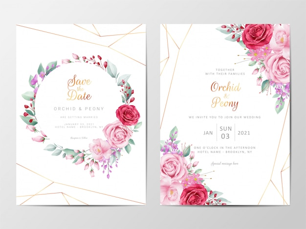 Modelo de cartões de convite de casamento floral moderno conjunto com decoração de flores Vetor Premium