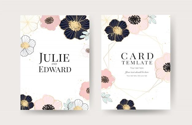Modelo de cartões de convite de casamento floral Vetor Premium