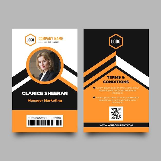 Modelo de cartões de identificação mínimos com foto Vetor grátis