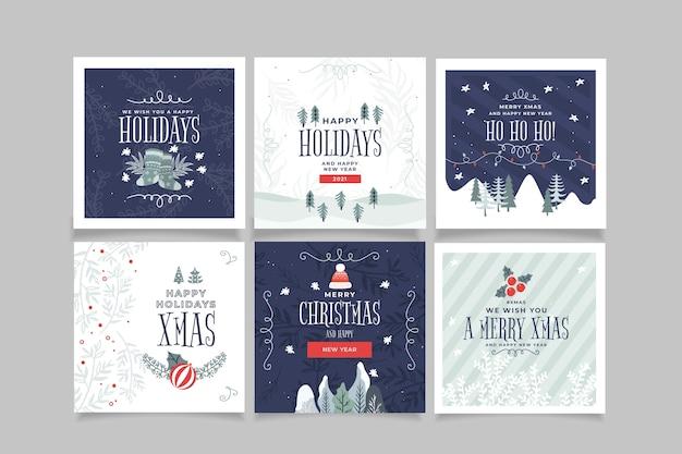 Modelo de cartões de natal ornamentais Vetor grátis