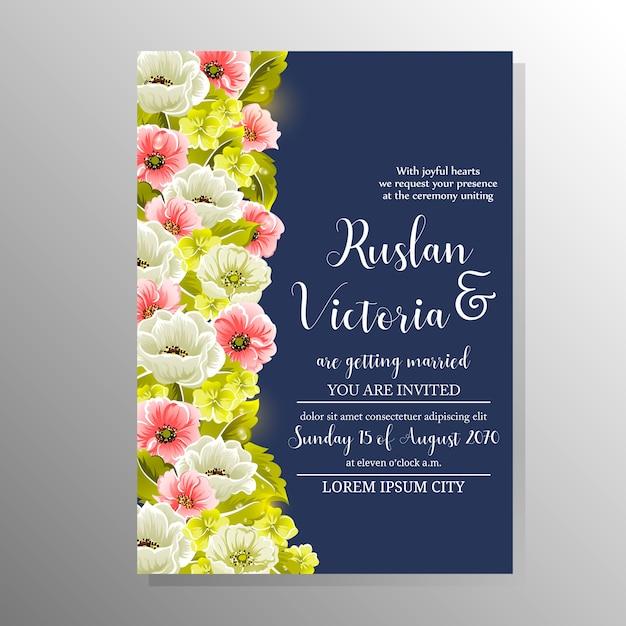 Modelo de casamento com flores de mão desenhada Vetor Premium