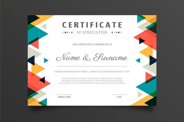 Modelo de certificado abstrato multicolorido Vetor grátis