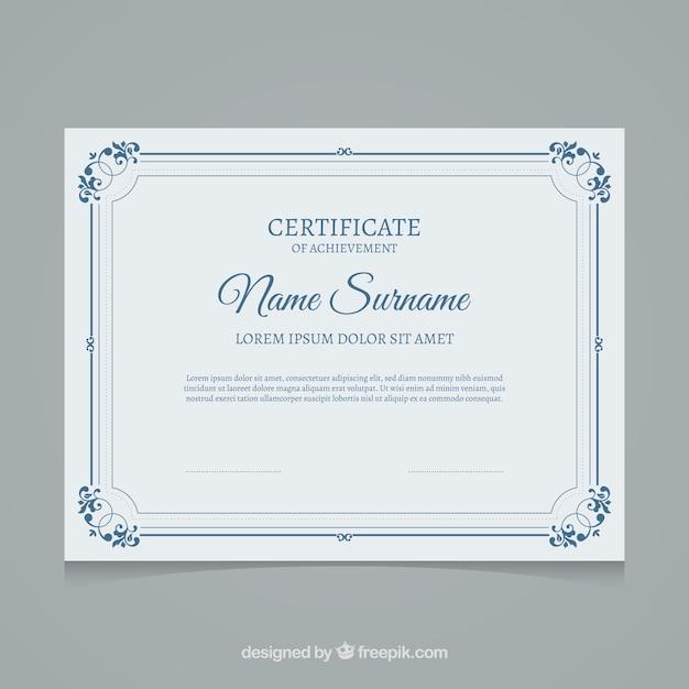 Modelo de certificado azul Vetor grátis