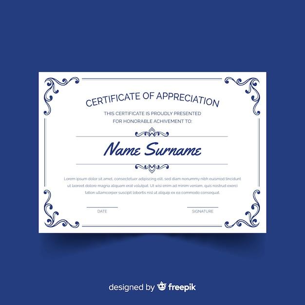 Modelo de certificado clássico Vetor grátis
