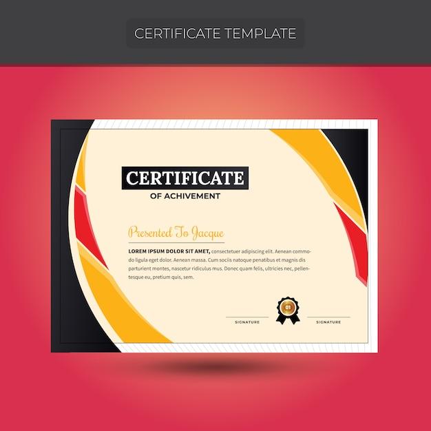 Modelo de certificado colorido design Vetor Premium