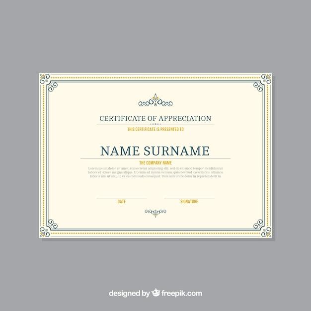 Modelo de certificado com borda ornamental Vetor grátis