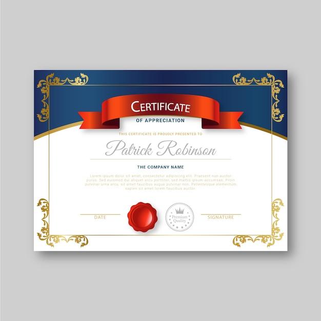 Modelo de certificado com conceito elegante Vetor grátis
