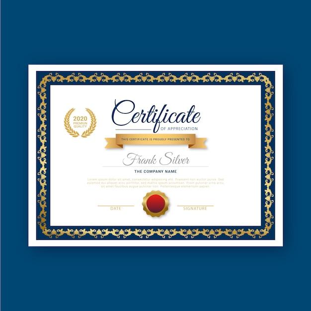 Modelo de certificado com design elegante Vetor grátis