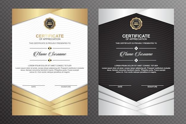 Modelo de certificado com fundo de linhas onduladas Vetor Premium
