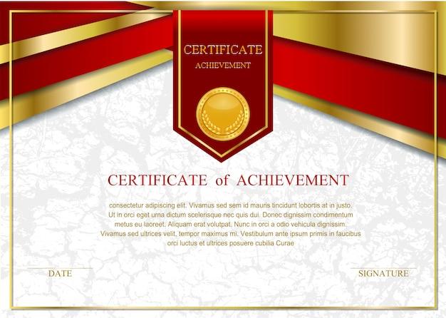 Modelo de certificado com luxo e padrão moderno, diploma, Vetor Premium