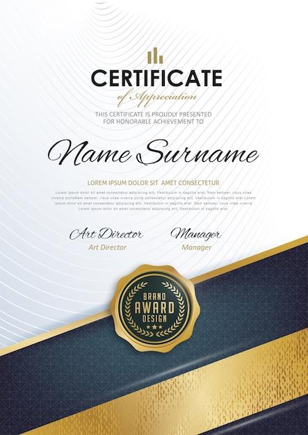 Modelo de certificado com padrão limpo e moderno, Vetor Premium