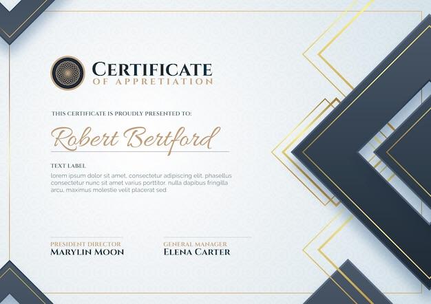 Modelo de certificado de agradecimento Vetor grátis